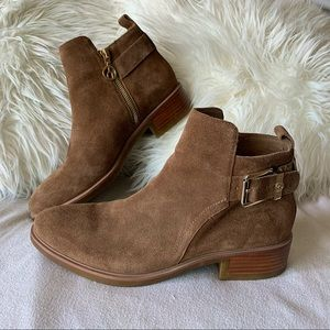 Wishbone Collection Suede Ankle Boots with Buckle